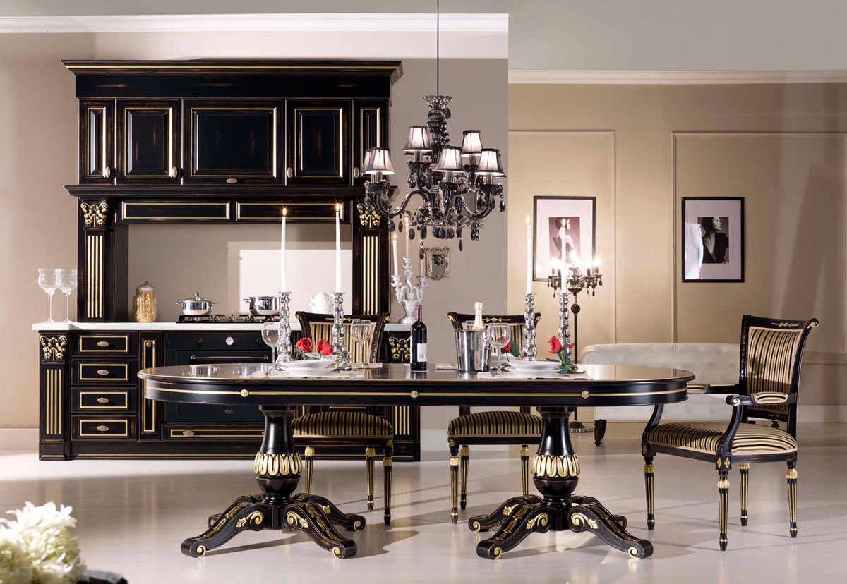 Photo n. 1016 / Worn black with gold leaf - Kitchen - Duca D'Este